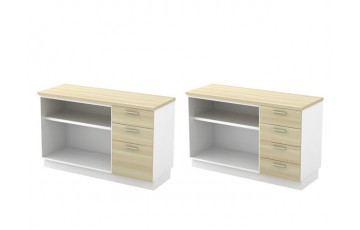 T-B-YOP7123 Open Shelf + Fixed Pedestal 2D1F
