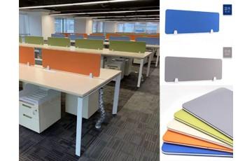 Frameless Partition Desking Panel C/w White Bracket
