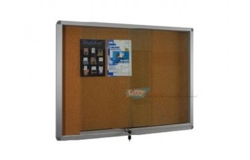 WB-CG23 Cork Board-Sliding Glass Aluminium Frame